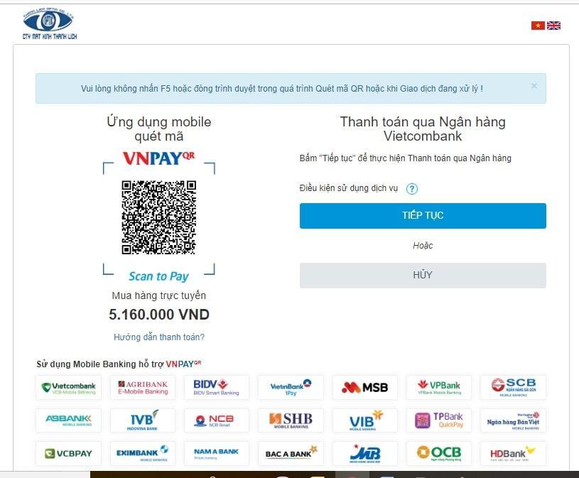 thanh toán qua tài khoản Vietcombank
